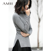 Amii Minimalist Turtleneck Knitted Sweater 2018 Fall Fashion Solid Plus Size Pullover Slit Crop Top Female Sweaters Tops