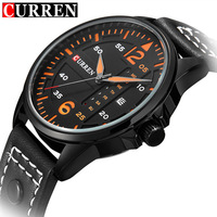 CURREN Watch Mens Fashion Business Watches Luxury Brand Leather Date Quartz Wrist Watch Men Clock Sport