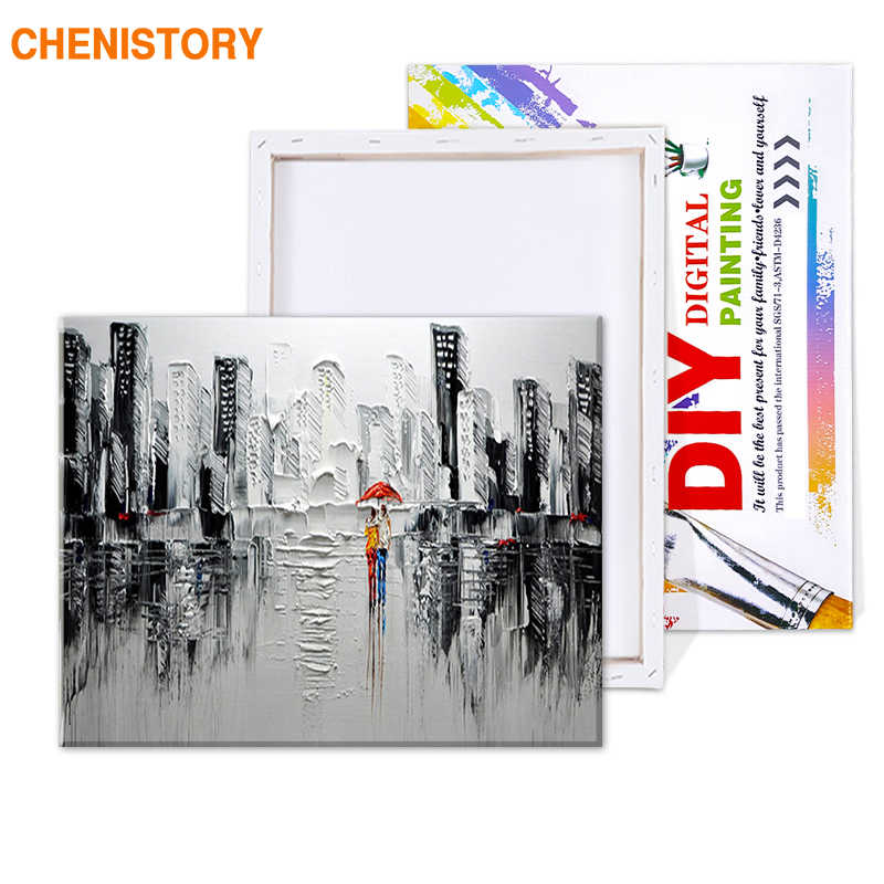 CHENISTORY Frame Abstract Modern City DIY Painting By Numbers Acrylic Paint On Canvas Wall Art Picture For Living Room 60x120cm