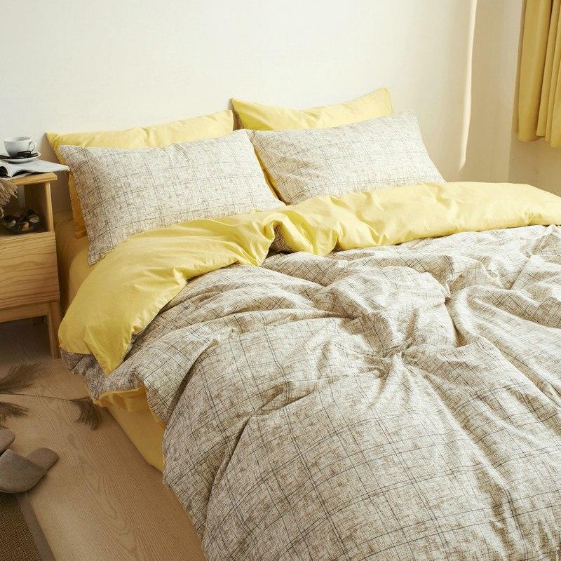 100 cotton plaid bedding setplaid de lit queen duvet cover cotton bed cover queen king. Black Bedroom Furniture Sets. Home Design Ideas
