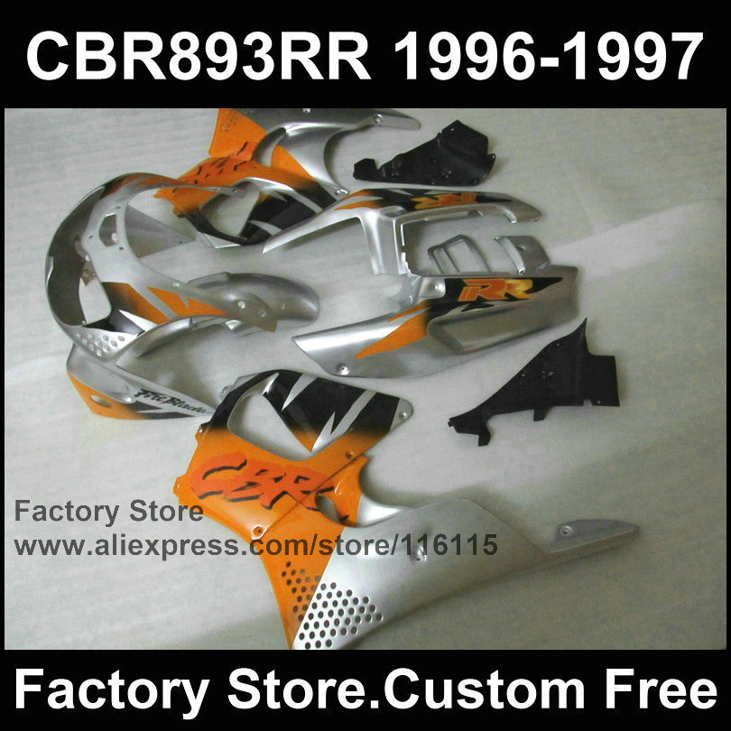 7 cadeaux kits de carénage en plastique ABS pour HONDA CBR900RR 96 97 CBR 893RR 1996 1997 orange argent moto CBR 893 carénages pièces