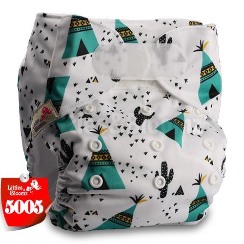 [Littles&Bloomz] Детские Моющиеся Многоразовые, настоящая стандартная ткань, застежка-липучка, карман для подгузников, пеленки, обертывание, подходит для рождения в горшке - Цвет: 5005