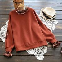 New 2017 Autumn Winter Womens Loose Polka Dot Patchwork Sweatshirt Ladies Sweet Fake Two Piece Fleece