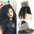 Brazilian Virgin Hair 360 Lace Band Frontal With Adjustable Straps Kinky Curly 360 Lace Closure With Baby Hair Afro Kinky Curly