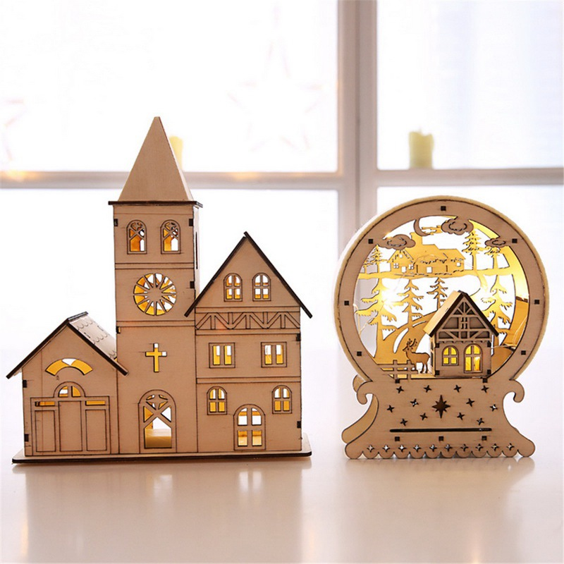 hoomall wooden led light luminous wood house desktop christmas tree star ornaments christmas. Black Bedroom Furniture Sets. Home Design Ideas