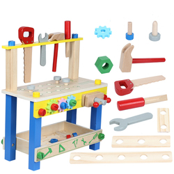 Preschool Baby Montessori Toys Kids Wooden Toys Simulation Multifunctional Repair Tool Set Pretend Play Toys For Children Gift