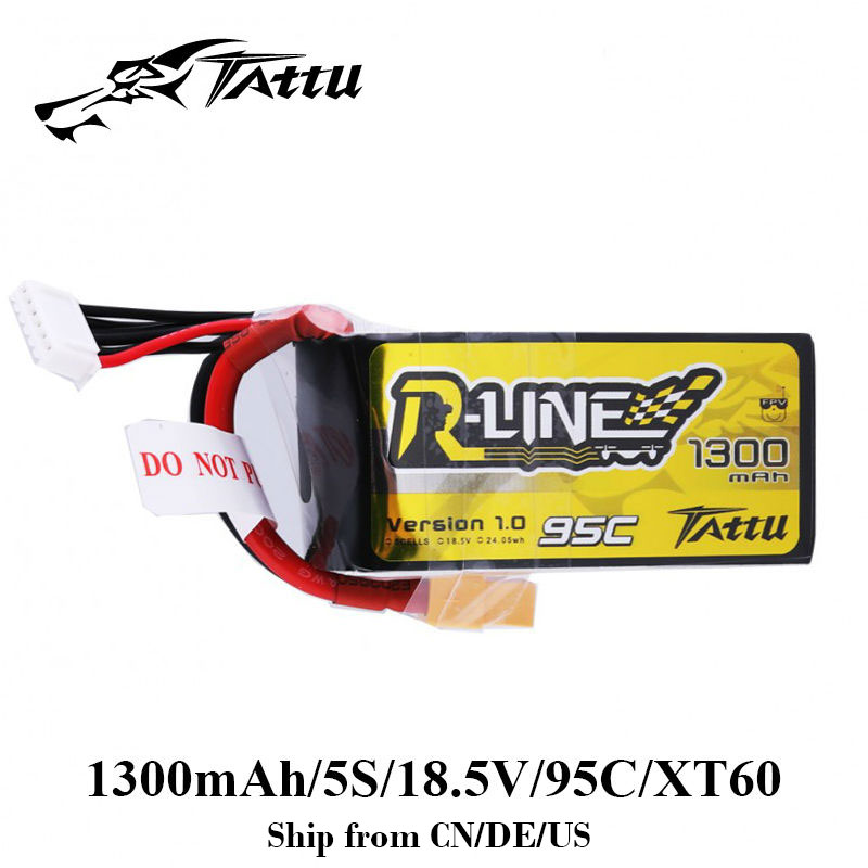 TATTU Lipo Batterie 1300 mAh 95C Racing Getan Batterie Lipo XT60 Stecker 5 S 18,5 V R Linie Quadcopter FPV hubschrauber Batterie