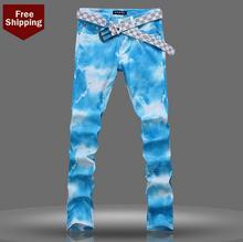 Осень тонкий прямой мужские джинсы марка ножки брюки мужские брюки персонализированные известный дизайнер марки высокое качество