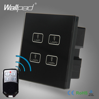 Hot Sale 4 Gang Remote Wallpad Black Tempred Glass Switch LED Ligh Remote 4 Gang 2
