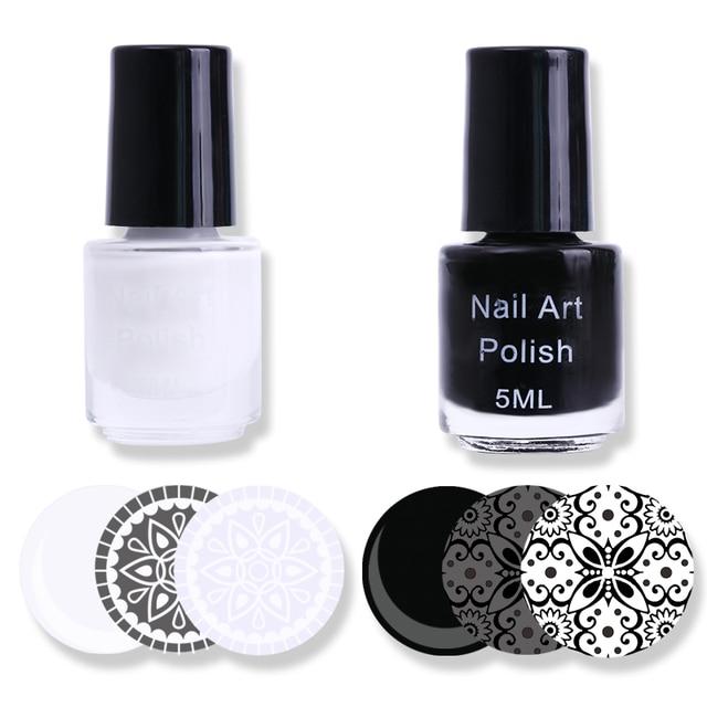 2 Bouteilles Blanc Noir Ongles Estampage Polonais Laque Manucure ...