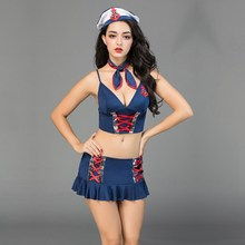 dd6b735234 Alta calidad Sexy marinero disfraces eróticos Marina Lencería para mujer Sexy  vestido de fiesta Halloween dama