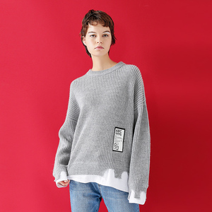 Image 2 - Toyouth Womens Sweater 2018 Patchwork Pullovers Knitted Sweater For Women Crew Neck Long Sleeve Irregular Female Jumpe Tops