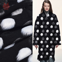 White Grey Black With Fluffy Dot Jacquard Cashmere Wool Fabric For Winter Coat Thick Woolen Tissue
