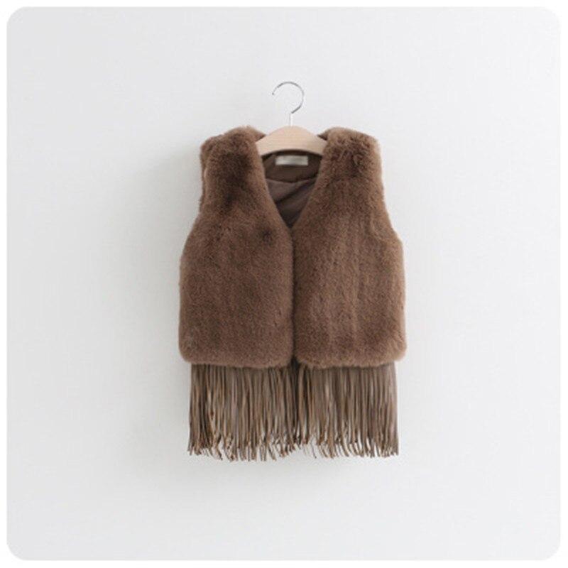 Kinder Mädchen Kunstpelz Weste Mäntel Winter Warme Weste Kinder Sleeveless Jacke Quaste Oberbekleidung Kleidung Für 1-7 Jahre