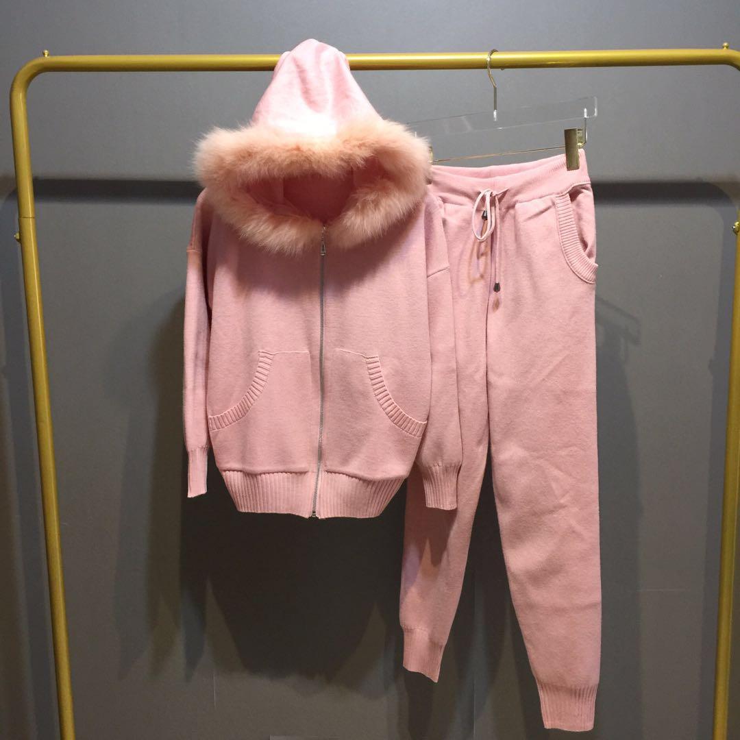 2019 hiver nouveaux costumes tricotés vraie fourrure à capuche veste tricot pantalon femmes mode plafones Chandal Mujer Sweat costume