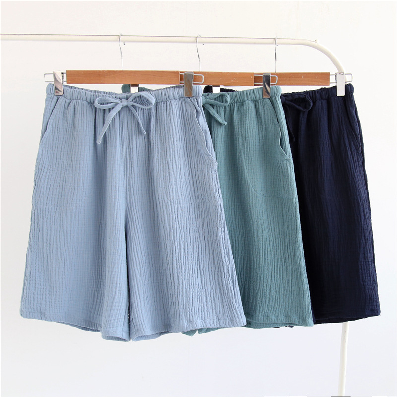 Summer 100% Cotton Crepe Yarn Men's Household Thin Section Sleep Bottoms Lattice Shorts Solid Nightly Trousers Sleepwear