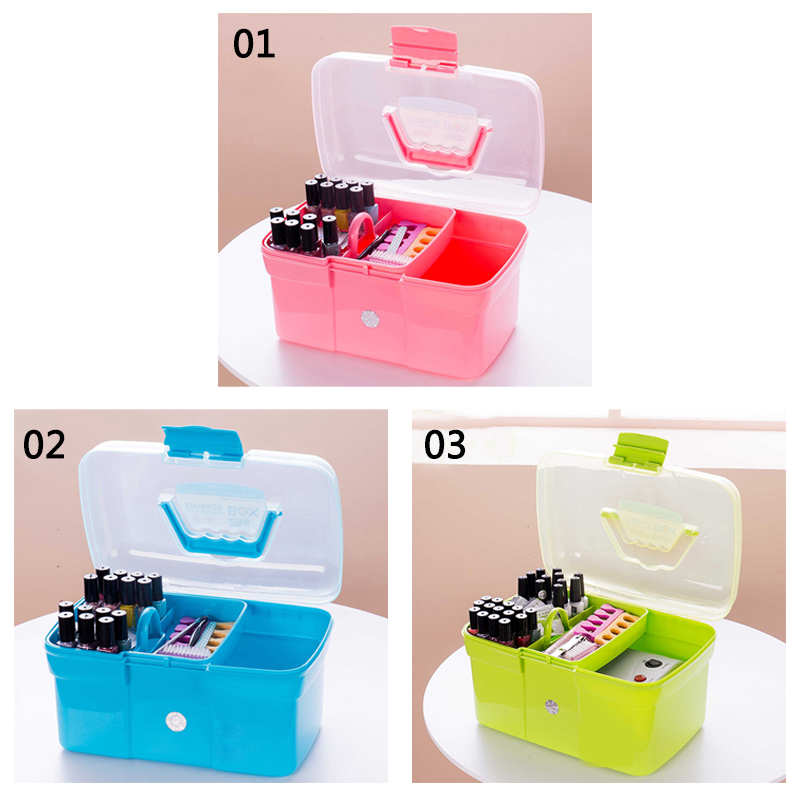 New Hand-held Desktop Storage Box Scissors Makeup Organizer Jewelry Nail Polish Pen Container Manicure Tool Case