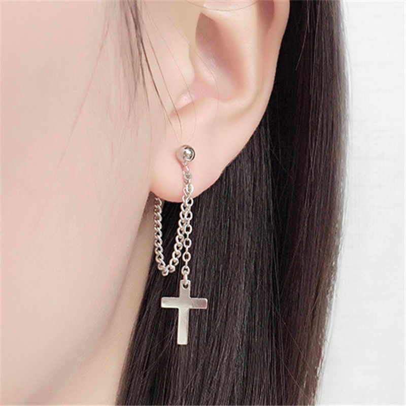 925 Solid Sterling Silver Cross Tassel  Charm Drop Earrings for Women Jewelry Party Accessories pendientes Brincos eh1034