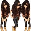 Леопардовым принтом футболка + кожаные штаны Горячие продажа мода прохладный беспризорных детей одежды девушка довольно набор с коротким рукавом леггинсы 2 шт. наборы