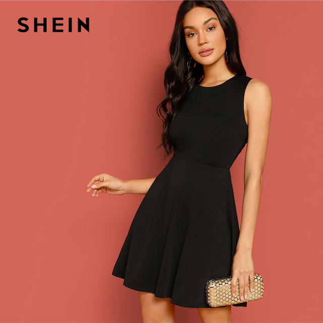 SHEIN Sexy Black Lace Insert Open Back Skater Fit and Flare High Waist Sleeveless Fitted Mini Dress Women Summer Solid Dresses 1