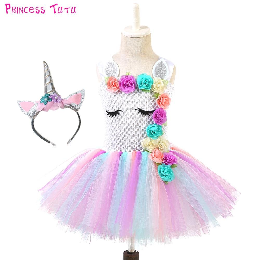 Astilla Pastel Girl unicornio cumpleaños Party Tutu Dress con diadema a juego flores niñas Pony unicornio tema traje de Halloween