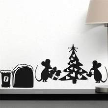 Creativo Buco Del Mouse Regalo Di Albero di Natale Wall Stickers Per Bambini Camere Home Decor Cartoon Animal Wall Decalcomanie In Vinile Murale di Arte(China)