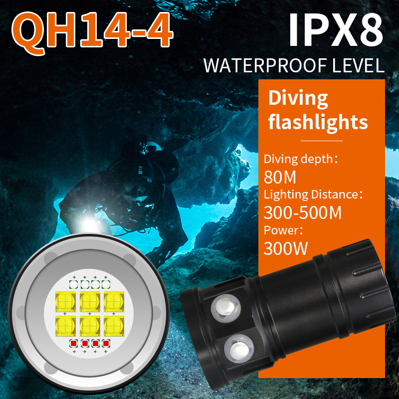 Tinhofire QH14 Underwater 80M 6*9090 White Light XML2+4*XPE R5 Red/Blue Photography Video LED Diving Flashlight Photo Fill Light цены