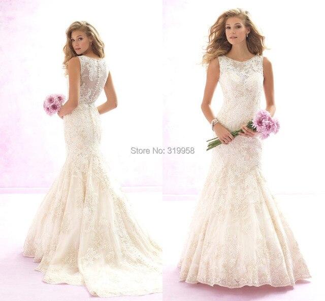 2015 Vintage Lace Mermaid Wedding Dresses Tank Top Appliques Ivory