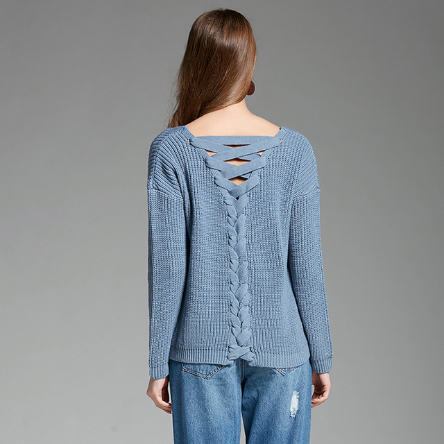 GOPLUS 2019 Spring V-Neck Sexy knitted Sweater Women Fashion backless lace up Hollow out Pullover female pull Casual Sweater top