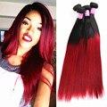 7A Ombre 1B Cabelo Brasileiro Ombre reta 4 pçs/lote Ombre Vermelho Extensões de cabelo Humano Remy cabelo Vermelho Tecer Cabelo liso Vermelho feixes
