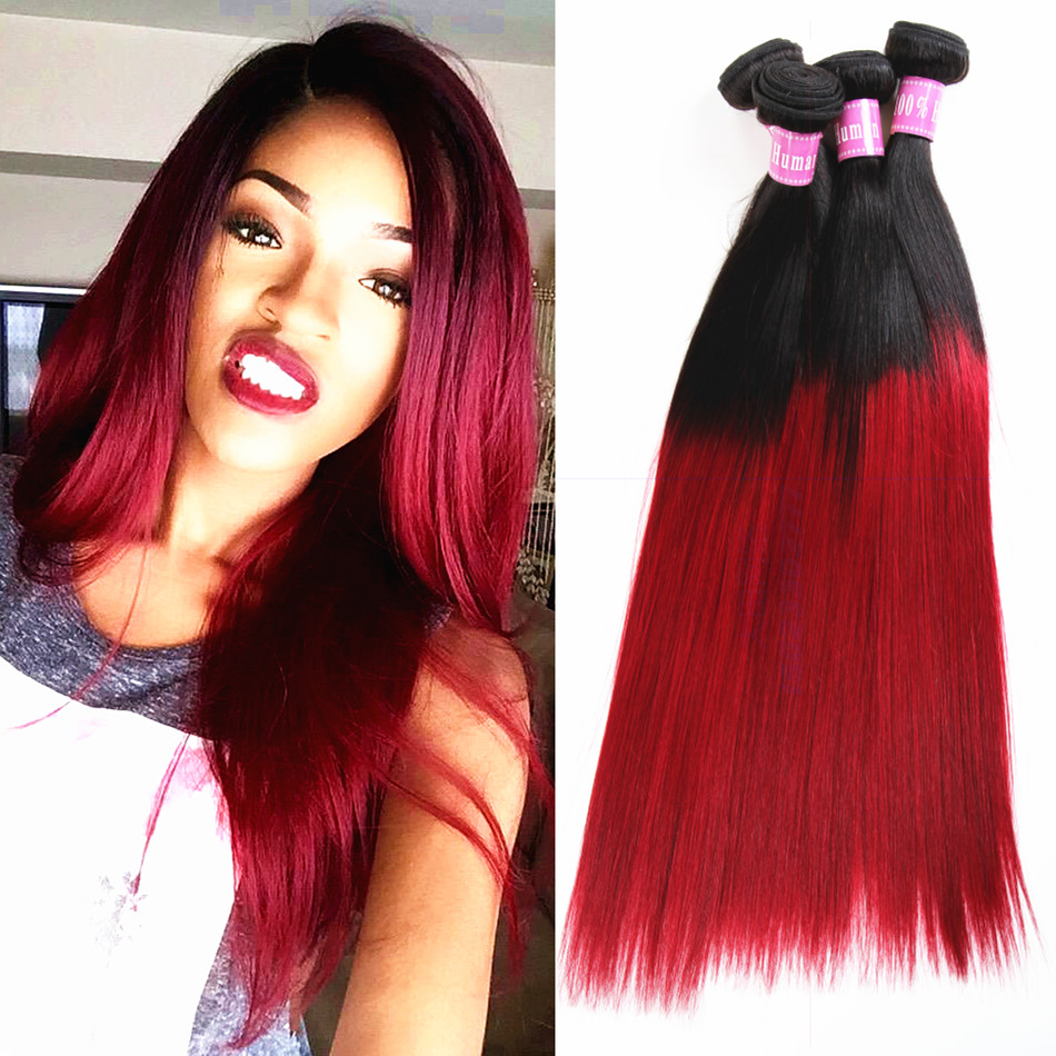 7A Ombre Brazilian Hair 1B Red Ombre Straight 4pcslot