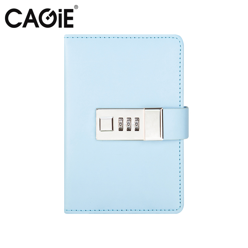 CAGIE 2018 New Arrive A7 Notebook Lock Diary Women Cute Leather Travelers Notebooks Kawaii Mini Planner Sketchbook Filofax cagie vintage mini libreta notebook women flowers printing faux leather diary journal pocket filofax a6 travelers notebooks