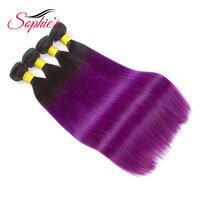 صوفي قبل الملونة أومبير الشعر حزم ينسج # t1b/الأرجواني اللون 4 حزم الإنسان غير ريمي مستقيم الماليزية الشعر