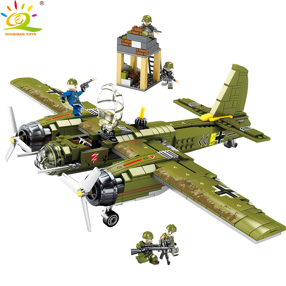559pcs Military Ju-88 bombing plane Building Blocks Compatible Legoingly Helicopter Army soldier figures Toys for children boy