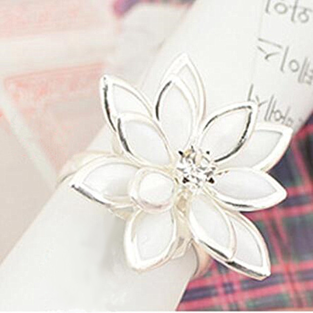 Retro Adjustable Flower Rings Camellia Lotus Ring for Women Silver Gold Color We