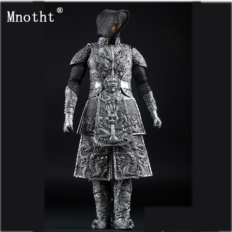 Mnotht 1/6 AS008 Silver Toys Ancient Dragon Armor soldier Clothes model for 12'' Action Figure dolls assceeories cllection mnotht 1 6 soldier dress cheongsam slit skirt sexy model girl evening dress clothes black blue toys for 12 action figure m2n