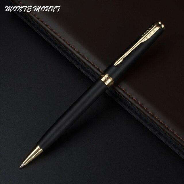 MONTE MOUNT Lot Customized Ballpoint Pen Matte Black Ballpoint Pen Gold  Clip Office Supplies