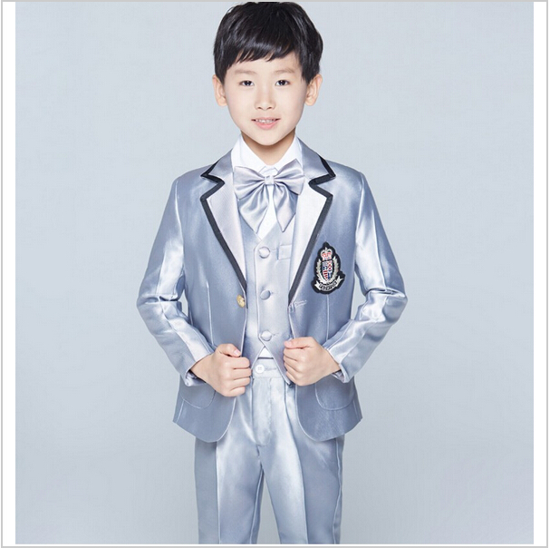 eecb34e9679cf Tailored made Latest jacket pantsdesign Boy Tuxedos Fashional Children Suit  silver Kid Wedding Prom Suits(Jacket+Pants+vest+Tie)