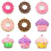 Choose Design First 10pcs Bag Silver Color Full Enamel Doughnut Cupcake Pendants For DIY Necklace