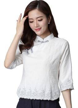 d109d64b7 Shangai historia medio manga ropa tradicional chino de las mujeres Top  mezcla blusa de lino chino Cheongsam Qipao camisa