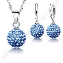 925 Sterling Silver Austrian Crystal Pave Disco Ball Pendant Necklace Set