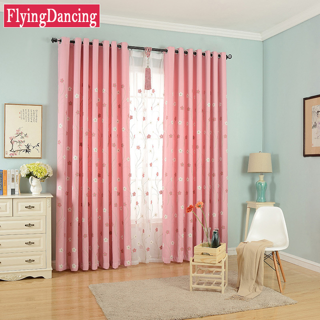 Pink Linen Embroidered Curtains For Bedroom White Embroidered Tulle ...