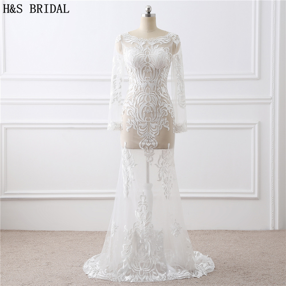 H&S BRIDAL White Ivory O Neck Embroidered Sexy   Prom     Dresses   Long Sleeve Sexy Evening   dress   Back Lace up Sexy Party Evening Gown
