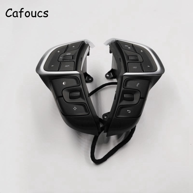 Cafoucs Car Multifunction Steering Wheel Switchs For Citroen <font><b>C4</b></font> 2013 Cruise Control Switch With <font><b>Bluetooth</b></font> Phone Volume Buttons