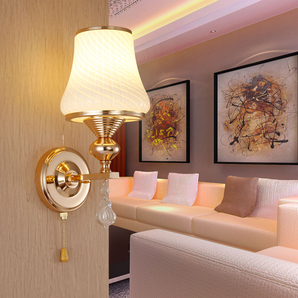 Bedside lamps wall mounted - Modern Wall Light 110v 220v E27 Led Crystal Wall Light Single Double Head With Switch