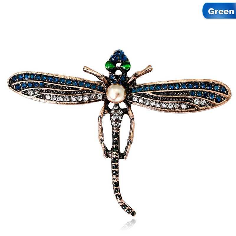 Хрустальные винтажные Броши стрекозы для женщин Большая Булавка для насекомых модное платье пальто аксессуары милые ювелирные изделия
