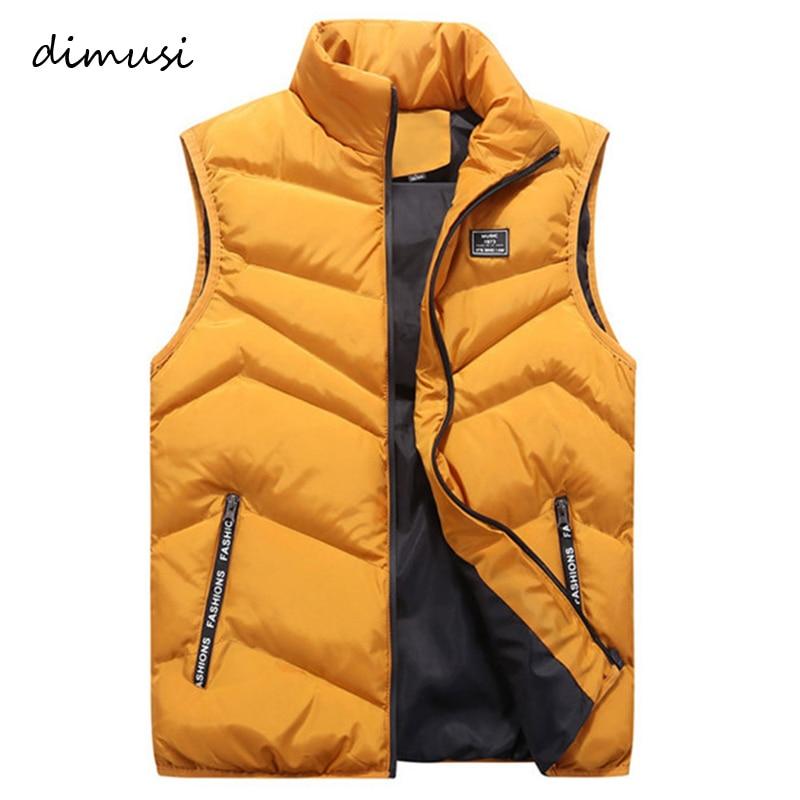 DIMUSI Mens Jacket Sleeveless Vest Winter Fashion Casual Coats Male Cotton-Padded Men's Vest Men Thicken Waistcoats 4XL,YA741