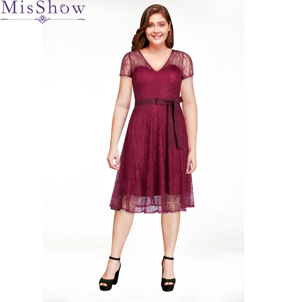 new Plus Size   Evening     Dresses   2019 Cheap Full Lace Short Sleeve Cocktail Party Gowns Short Formal   Dress   Robe De Soiree With Sash