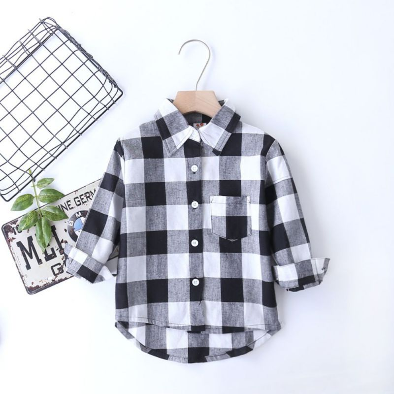 2018 New Casual Boy Girl Long Sleeve Plaid shirt Black Check Tops Blouse Pocket Blouse Long Shirts Clothes button up frilled puff sleeve blouse