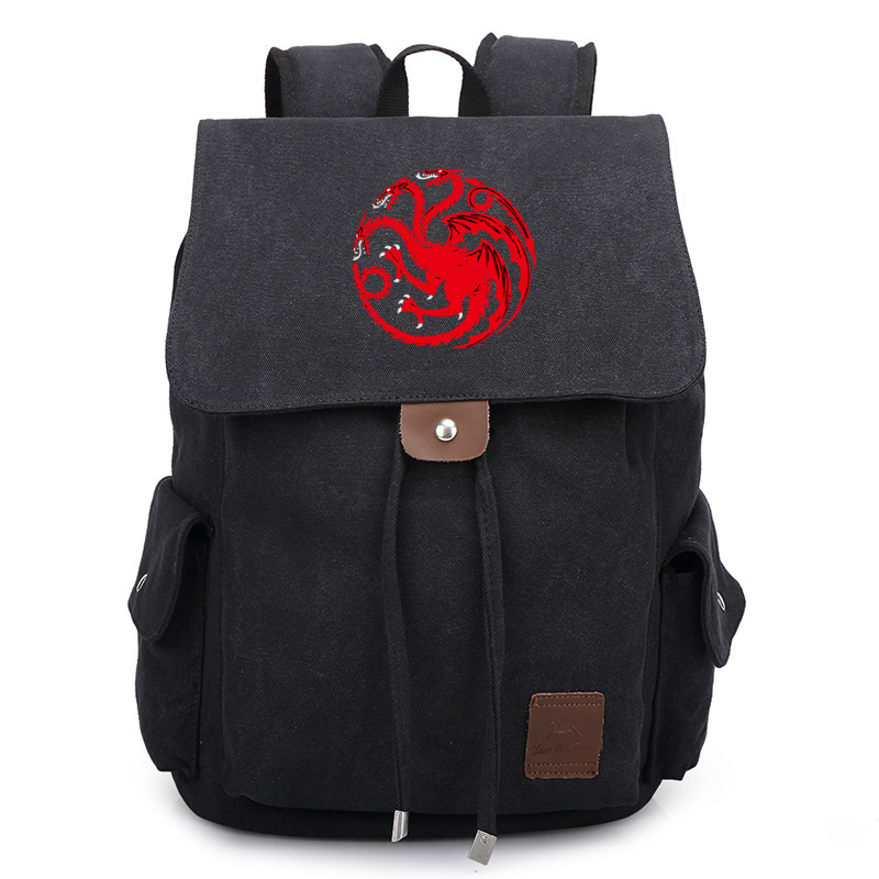 Fashion TV Show Game of Thrones Black Backpack School Shoulder Bag Travel Bag new game of thrones anime ice and fire backpack shoulder school bag package cosplay 45x32x13cm
